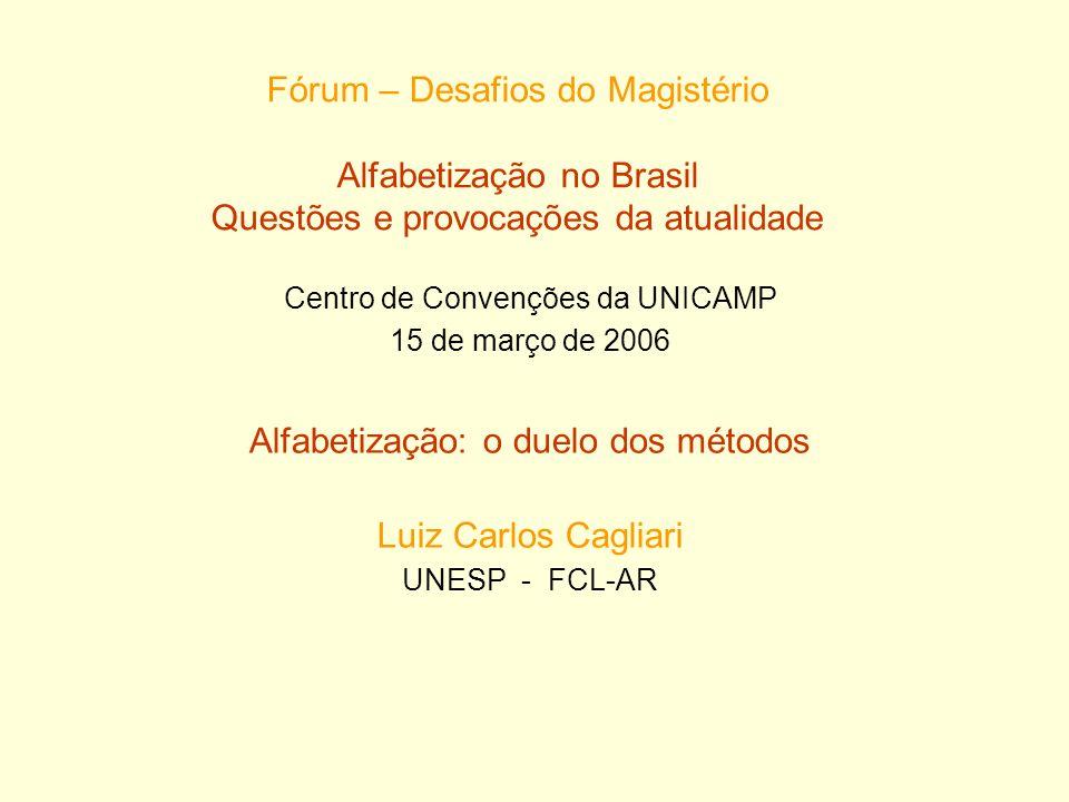 Fórum – Desafios do Magistério Alfabetização no Brasil Questões e provocações da atualidade Centro de Convenções da UNICAMP 15 de março de 2006 Alfabe
