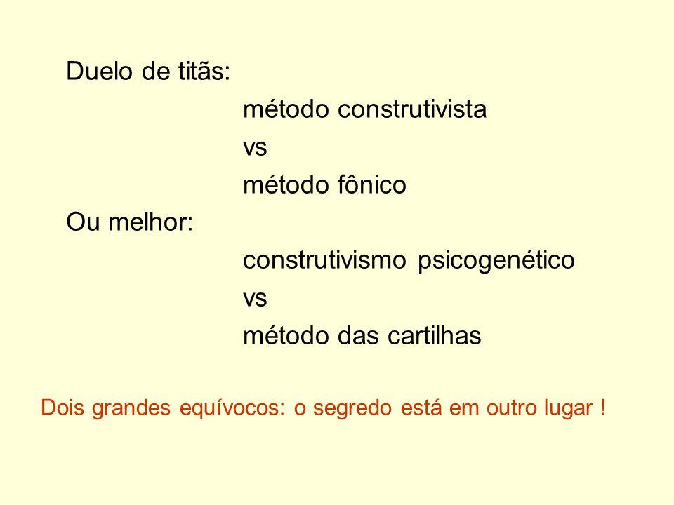 Duelo de titãs: método construtivista vs método fônico Ou melhor: construtivismo psicogenético vs método das cartilhas Dois grandes equívocos: o segre