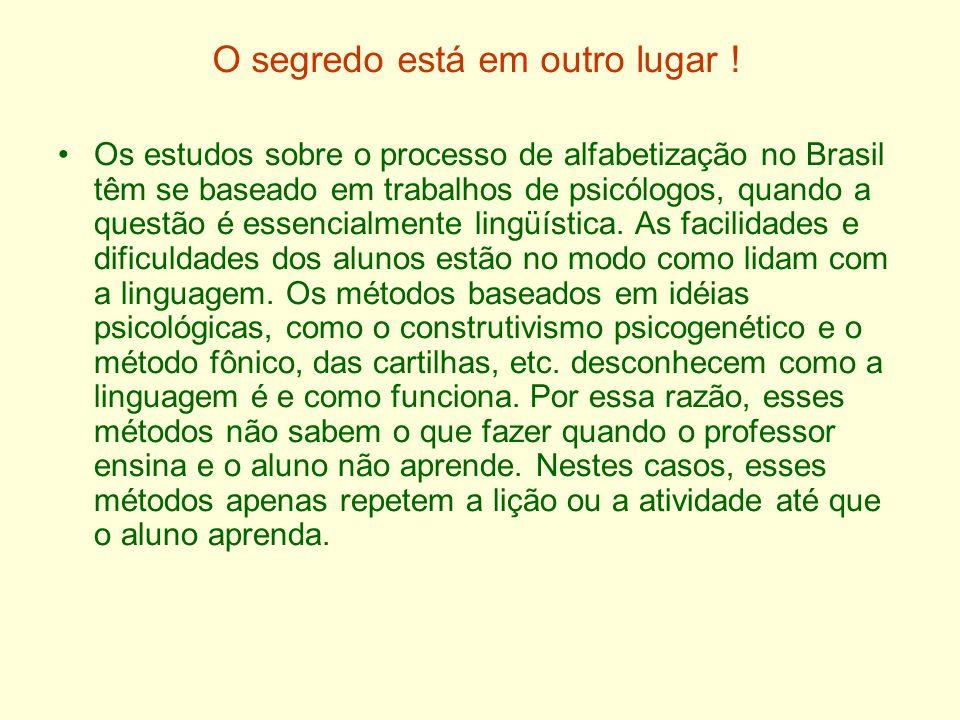 O segredo está em outro lugar ! Os estudos sobre o processo de alfabetização no Brasil têm se baseado em trabalhos de psicólogos, quando a questão é e