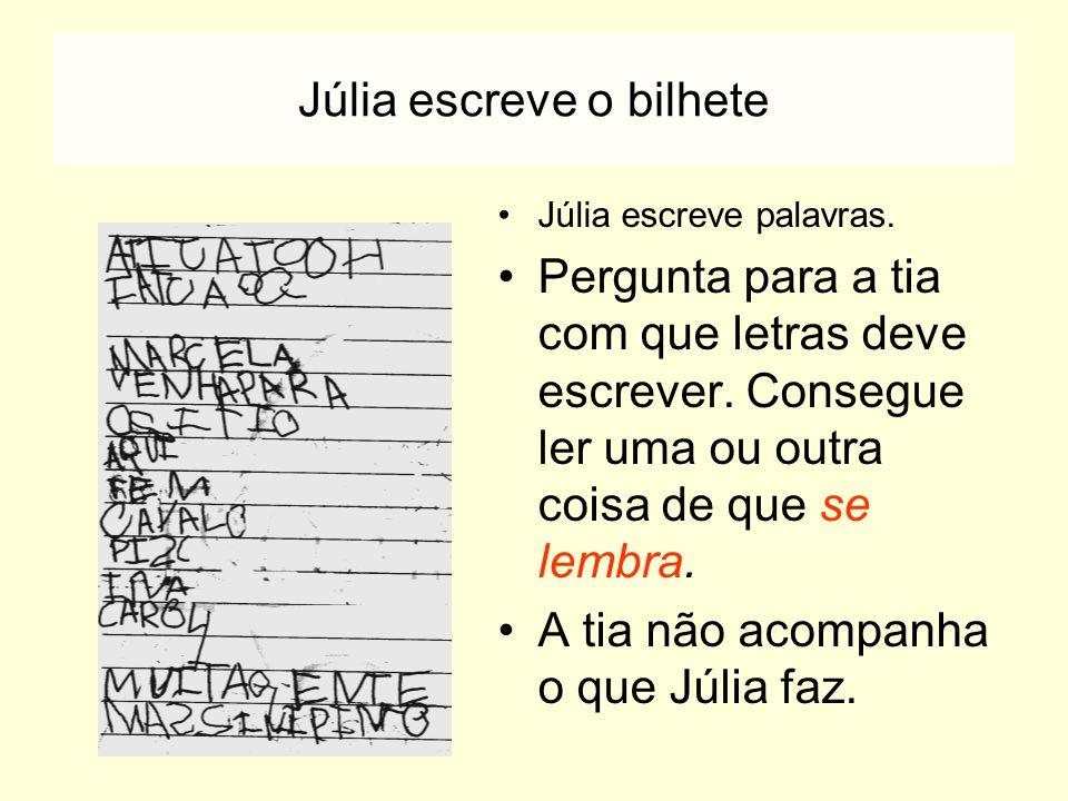 Júlia escreve o bilhete Júlia escreve palavras. Pergunta para a tia com que letras deve escrever. Consegue ler uma ou outra coisa de que se lembra. A
