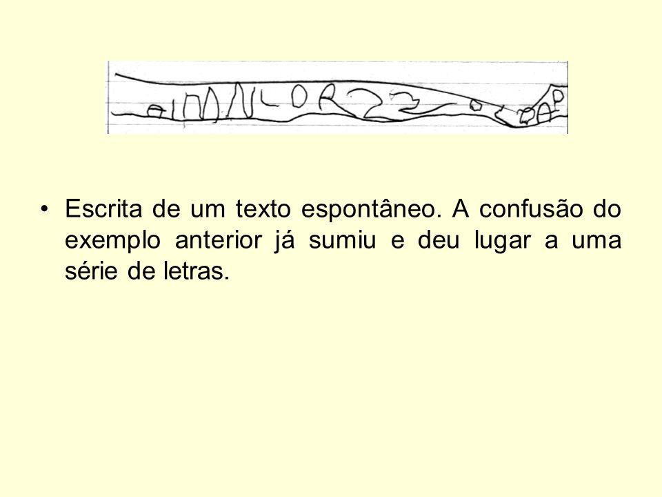 Escrita de um texto espontâneo. A confusão do exemplo anterior já sumiu e deu lugar a uma série de letras.