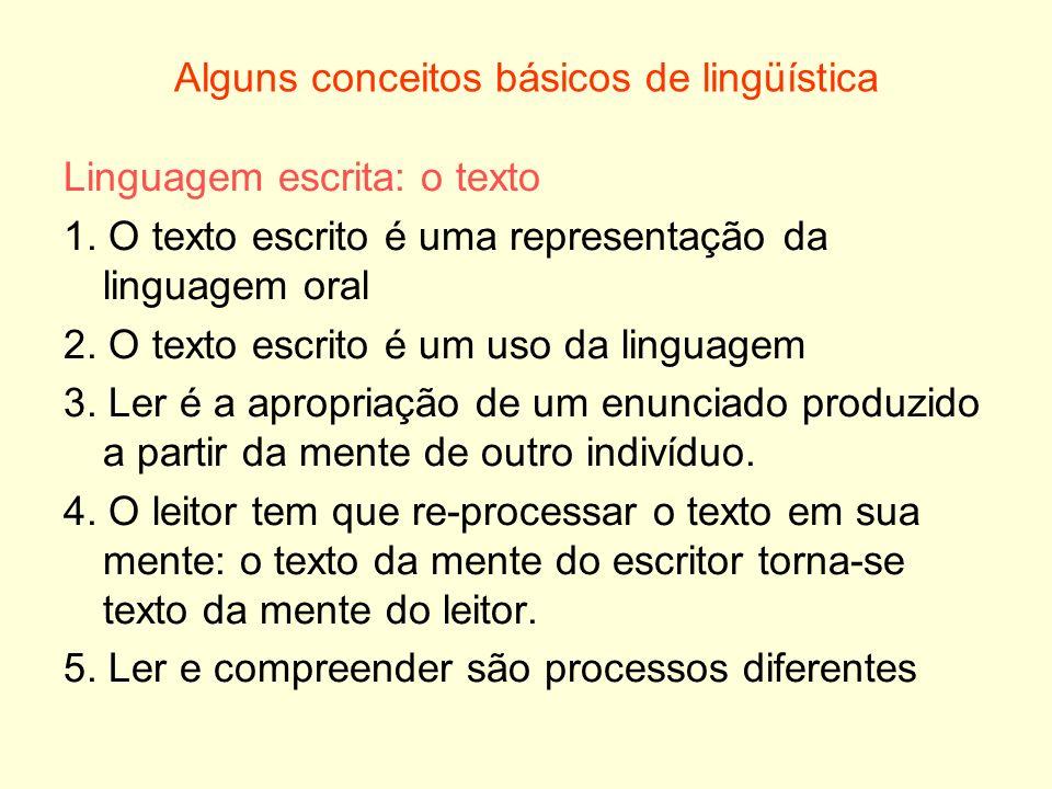Alguns conceitos básicos de lingüística Linguagem escrita: o texto 1. O texto escrito é uma representação da linguagem oral 2. O texto escrito é um us
