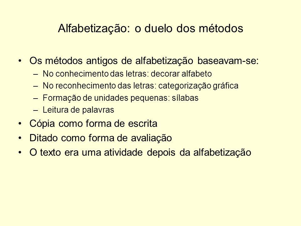 Alfabetização: o duelo dos métodos Os métodos antigos de alfabetização baseavam-se: –No conhecimento das letras: decorar alfabeto –No reconhecimento d