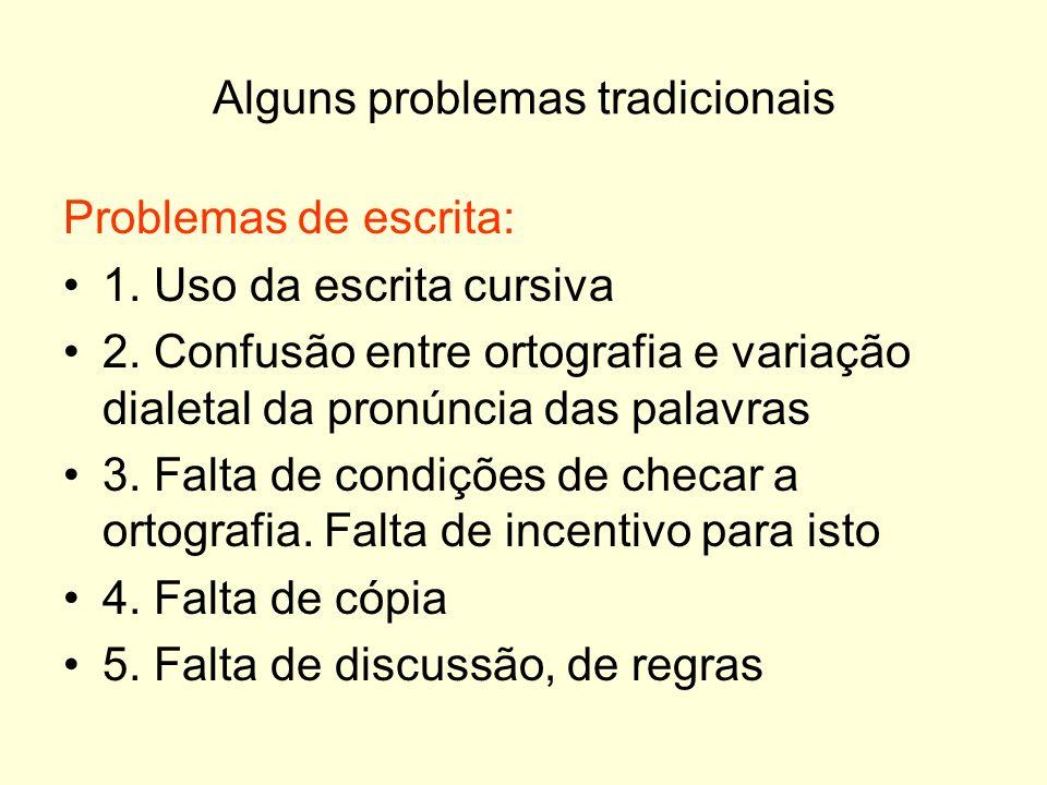 Alguns problemas tradicionais Problemas de escrita: 1. Uso da escrita cursiva 2. Confusão entre ortografia e variação dialetal da pronúncia das palavr