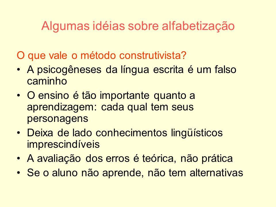 Algumas idéias sobre alfabetização O que vale o método construtivista? A psicogêneses da língua escrita é um falso caminho O ensino é tão importante q