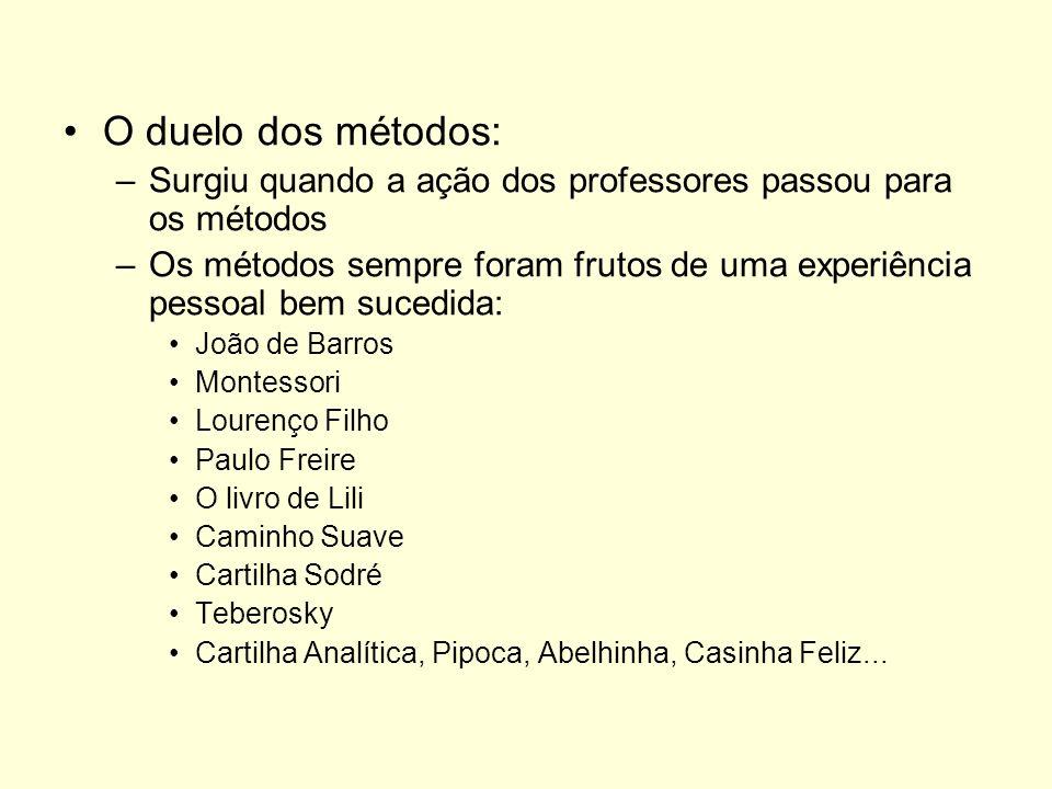 O duelo dos métodos: –Surgiu quando a ação dos professores passou para os métodos –Os métodos sempre foram frutos de uma experiência pessoal bem suced