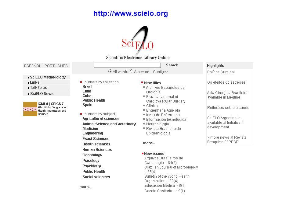 Mais de 5.000 fascículos Mais de 60,000 artigos Mais de 700.000 citações 300 SciELO 300