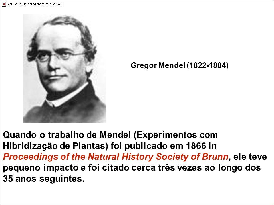 Quando o trabalho de Mendel (Experimentos com Hibridização de Plantas) foi publicado em 1866 in Proceedings of the Natural History Society of Brunn, ele teve pequeno impacto e foi citado cerca três vezes ao longo dos 35 anos seguintes.