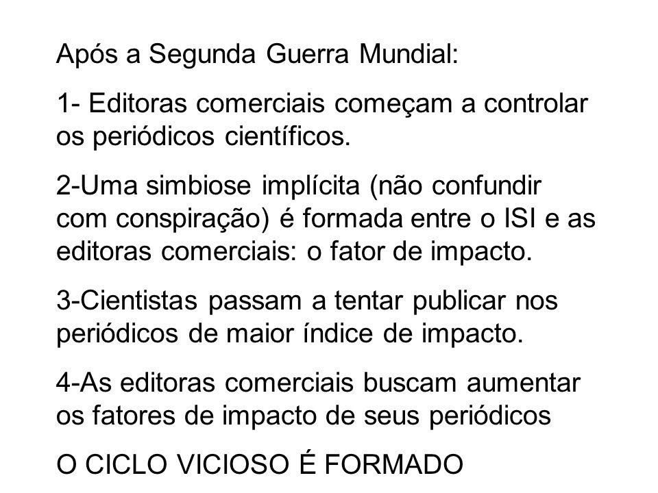 Após a Segunda Guerra Mundial: 1- Editoras comerciais começam a controlar os periódicos científicos.
