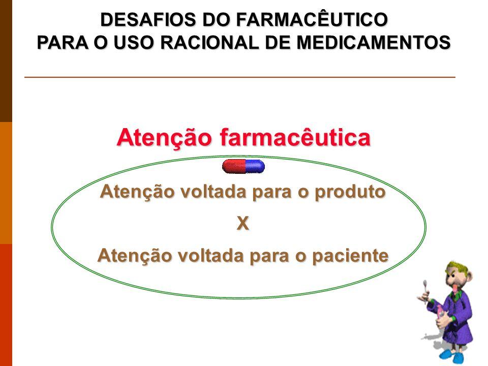 DESAFIOS DO FARMACÊUTICO PARA O USO RACIONAL DE MEDICAMENTOS Atenção voltada para o produto X Atenção voltada para o paciente Atenção farmacêutica