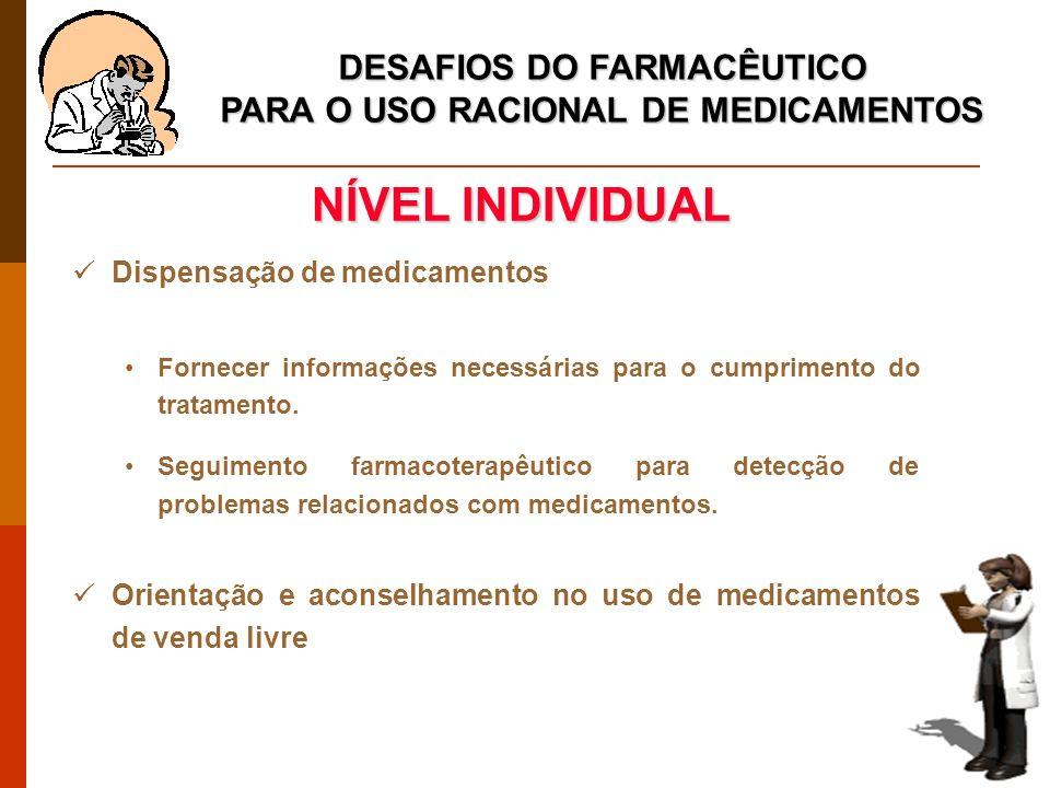 DESAFIOS DO FARMACÊUTICO PARA O USO RACIONAL DE MEDICAMENTOS Dispensação de medicamentos Fornecer informações necessárias para o cumprimento do tratamento.
