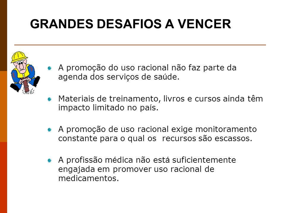 GRANDES DESAFIOS A VENCER A promo ç ão do uso racional não faz parte da agenda dos servi ç os de sa ú de.