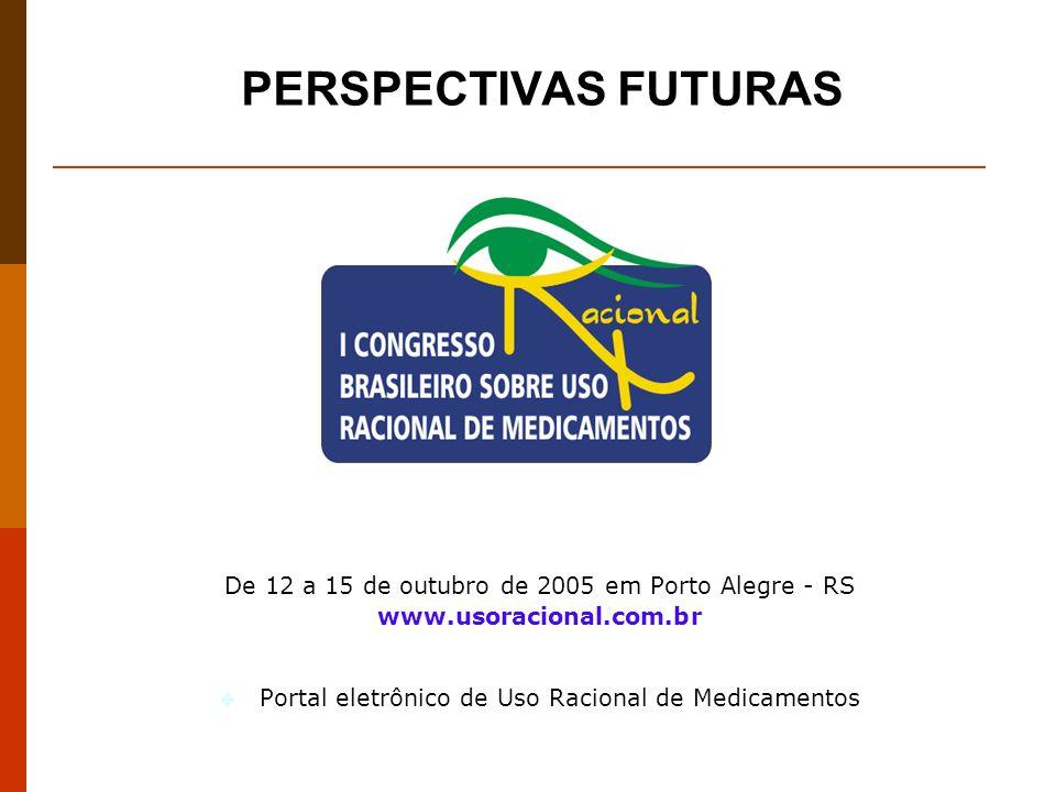 De 12 a 15 de outubro de 2005 em Porto Alegre - RS www.usoracional.com.br Portal eletrônico de Uso Racional de Medicamentos PERSPECTIVAS FUTURAS