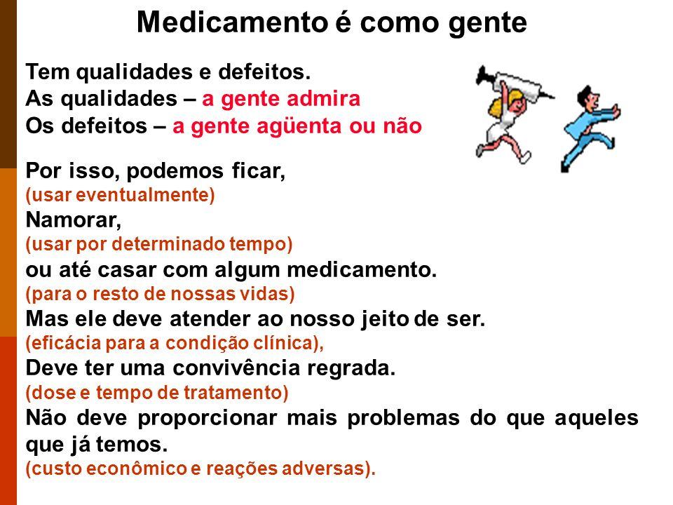 Medicamento é como gente Tem qualidades e defeitos.