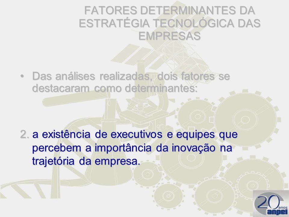 FATORES DETERMINANTES DA ESTRATÉGIA TECNOLÓGICA DAS EMPRESAS Das análises realizadas, dois fatores se destacaram como determinantes:Das análises reali