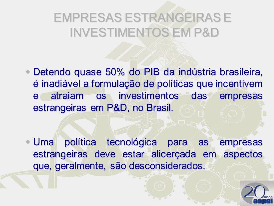 Detendo quase 50% do PIB da indústria brasileira, é inadiável a formulação de políticas que incentivem e atraiam os investimentos das empresas estrang