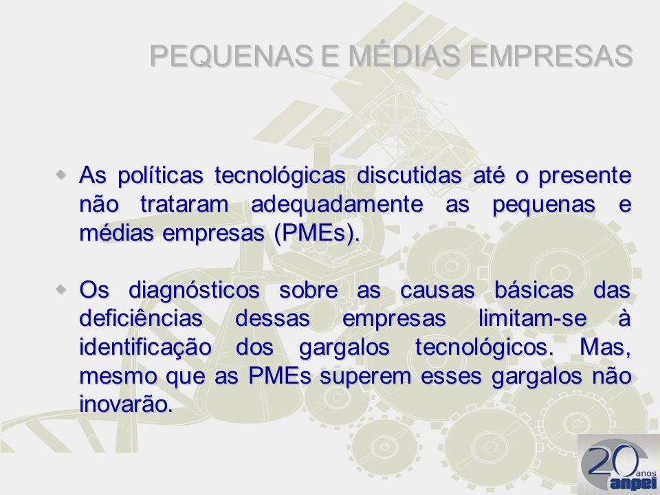 As políticas tecnológicas discutidas até o presente não trataram adequadamente as pequenas e médias empresas (PMEs). As políticas tecnológicas discuti