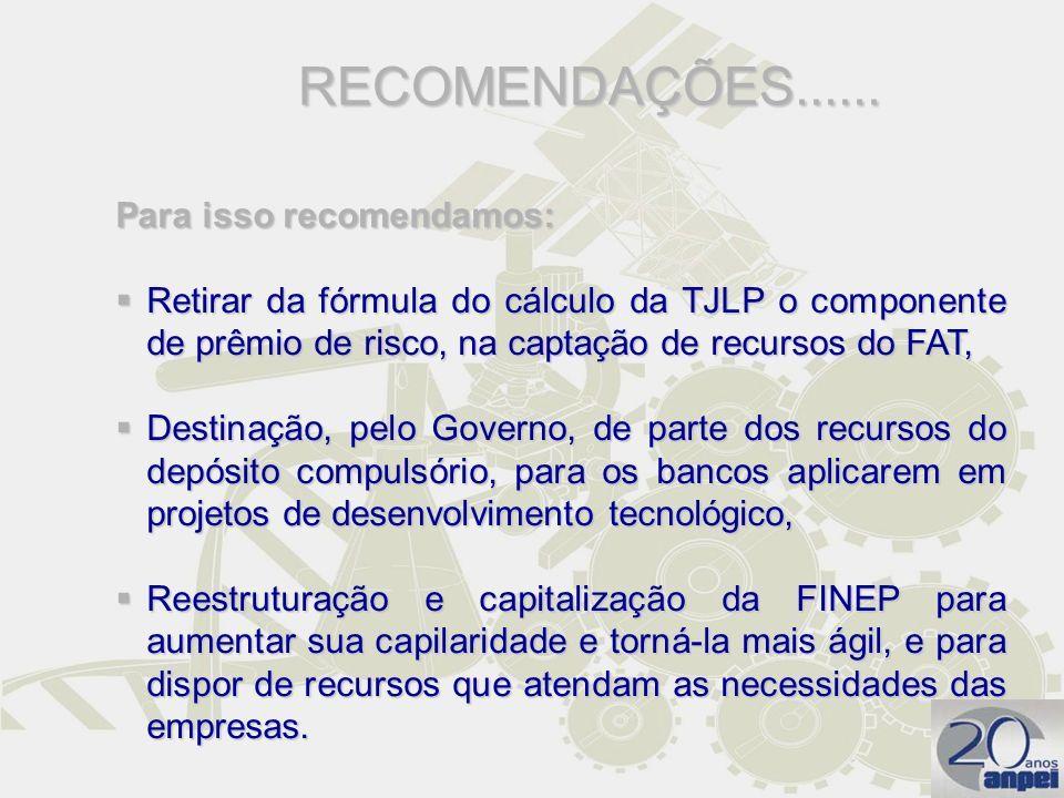 RECOMENDAÇÕES...... Para isso recomendamos: Retirar da fórmula do cálculo da TJLP o componente de prêmio de risco, na captação de recursos do FAT, Ret