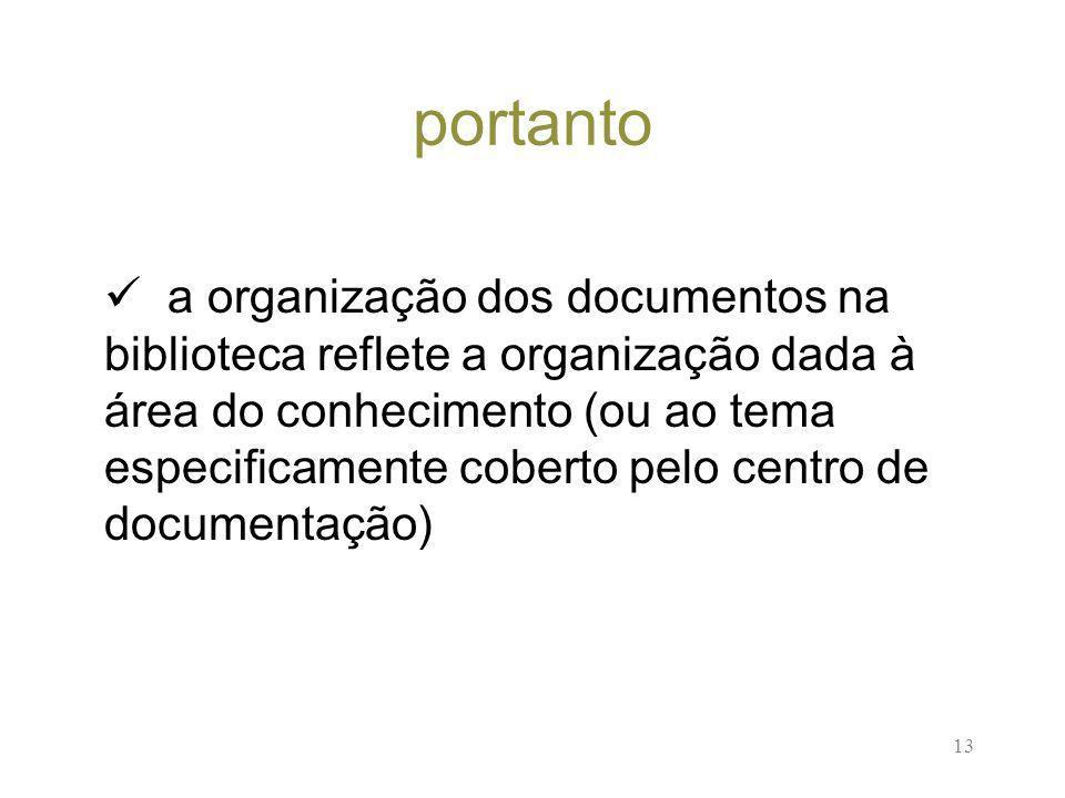 13 portanto a organização dos documentos na biblioteca reflete a organização dada à área do conhecimento (ou ao tema especificamente coberto pelo centro de documentação)