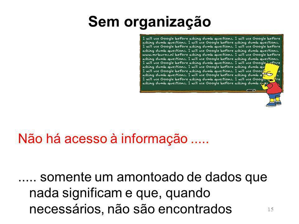 15 Sem organização Não há acesso à informação..........