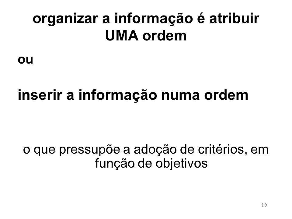 16 organizar a informação é atribuir UMA ordem ou inserir a informação numa ordem o que pressupõe a adoção de critérios, em função de objetivos