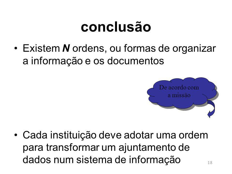 18 conclusão Existem N ordens, ou formas de organizar a informação e os documentos Cada instituição deve adotar uma ordem para transformar um ajuntamento de dados num sistema de informação De acordo com a missão De acordo com a missão