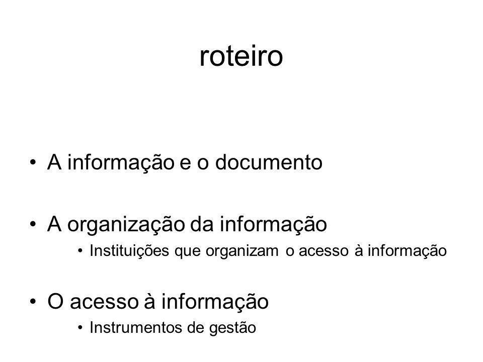 roteiro A informação e o documento A organização da informação Instituições que organizam o acesso à informação O acesso à informação Instrumentos de gestão