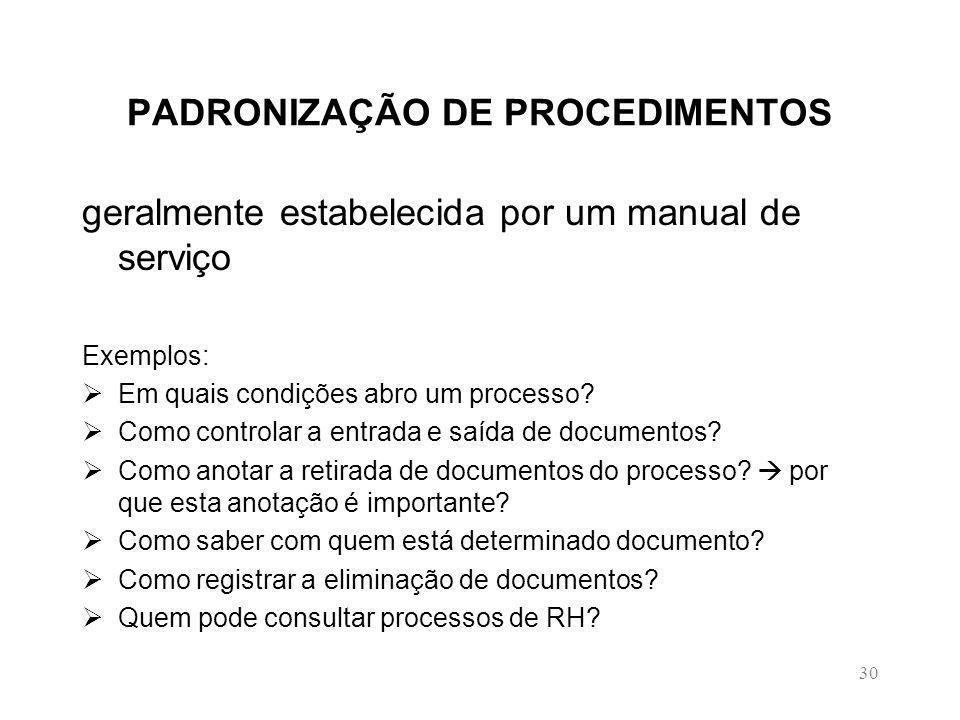 30 PADRONIZAÇÃO DE PROCEDIMENTOS geralmente estabelecida por um manual de serviço Exemplos: Em quais condições abro um processo.