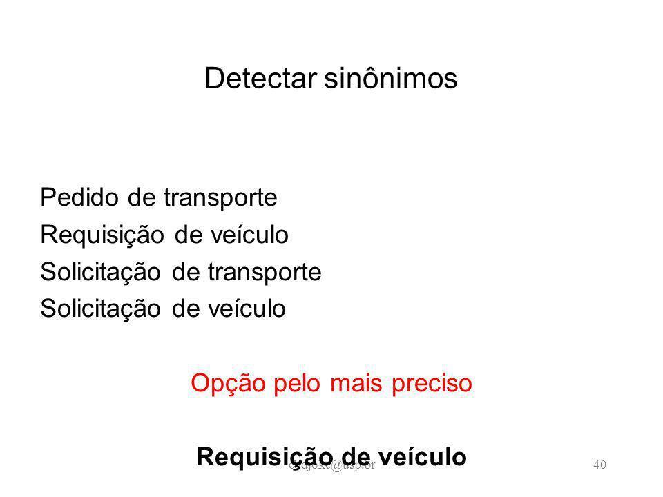 cbdjoke@usp.br40 Detectar sinônimos Pedido de transporte Requisição de veículo Solicitação de transporte Solicitação de veículo Opção pelo mais preciso Requisição de veículo