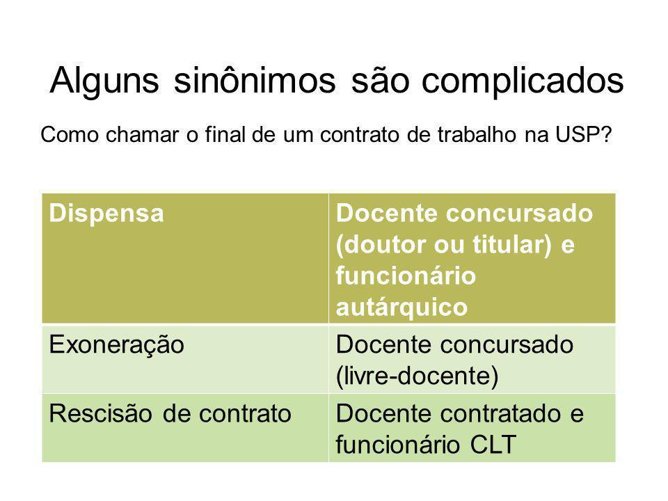 Alguns sinônimos são complicados Como chamar o final de um contrato de trabalho na USP.