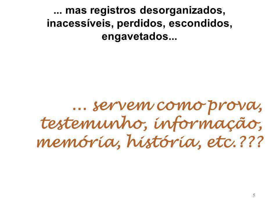 5...mas registros desorganizados, inacessíveis, perdidos, escondidos, engavetados......