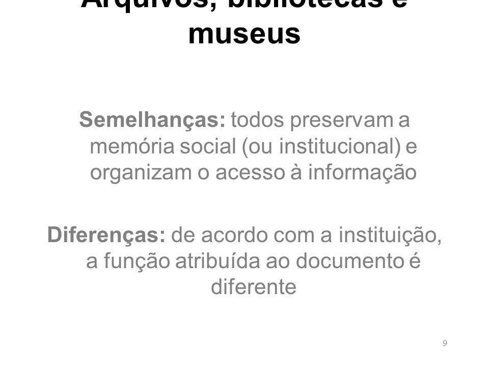 9 Arquivos, bibliotecas e museus Semelhanças: todos preservam a memória social (ou institucional) e organizam o acesso à informação Diferenças: de acordo com a instituição, a função atribuída ao documento é diferente