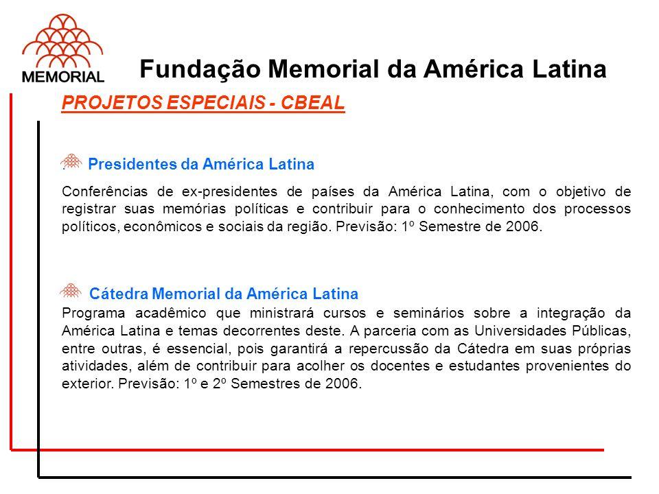 . Presidentes da América Latina Conferências de ex-presidentes de países da América Latina, com o objetivo de registrar suas memórias políticas e cont