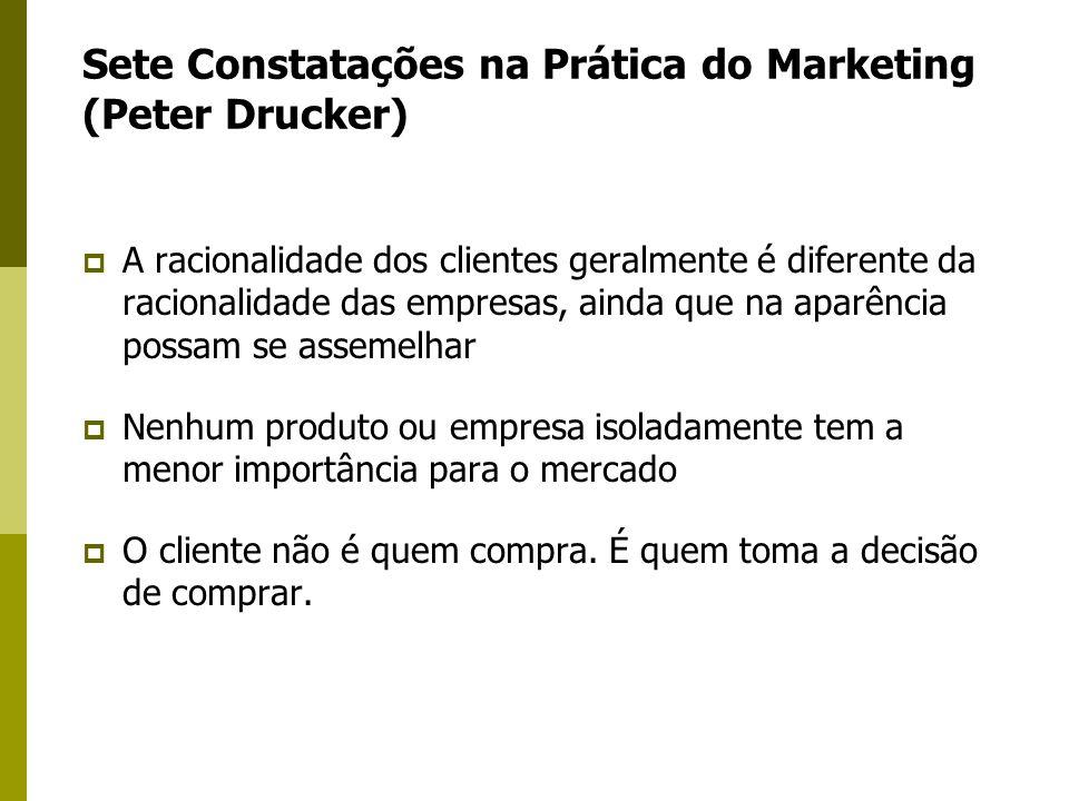 Sete Constatações na Prática do Marketing (Peter Drucker) A racionalidade dos clientes geralmente é diferente da racionalidade das empresas, ainda que