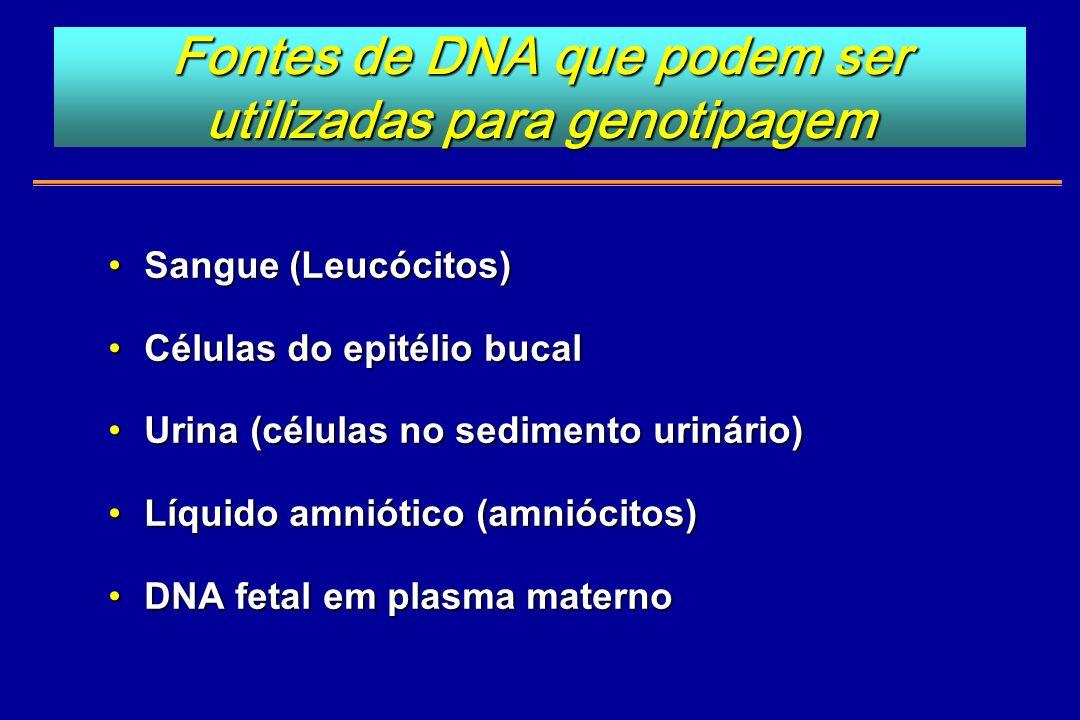 Fontes de DNA que podem ser utilizadas para genotipagem Sangue (Leucócitos)Sangue (Leucócitos) Células do epitélio bucalCélulas do epitélio bucal Urin