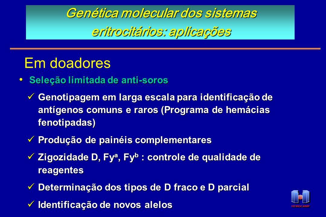 Genotipagem em larga escala para identificação de antígenos comuns e raros (Programa de hemácias fenotipadas) Genotipagem em larga escala para identif