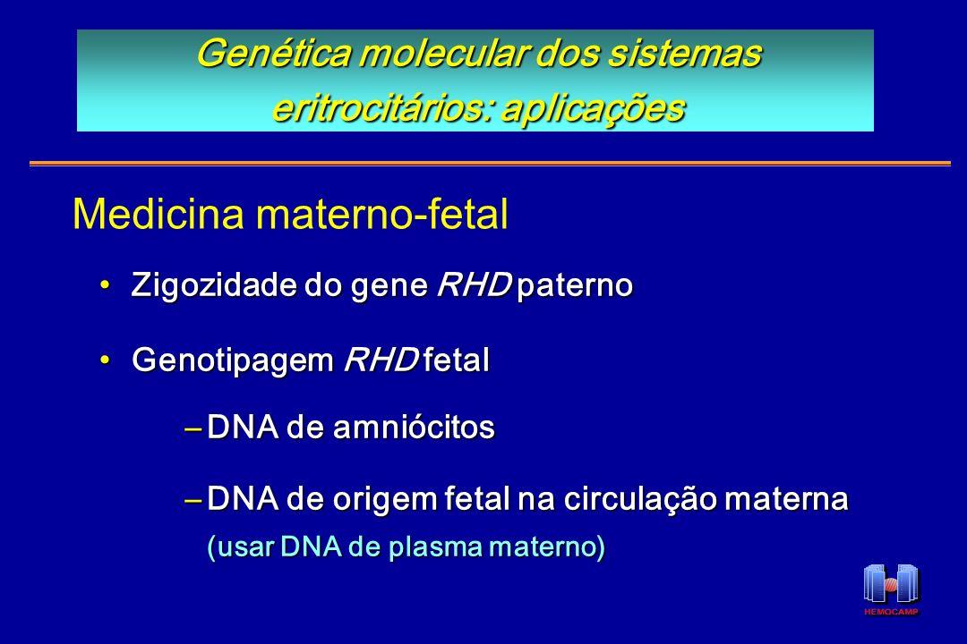 Zigozidade do gene RHD paternoZigozidade do gene RHD paterno Genotipagem RHD fetalGenotipagem RHD fetal –DNA de amniócitos –DNA de origem fetal na cir