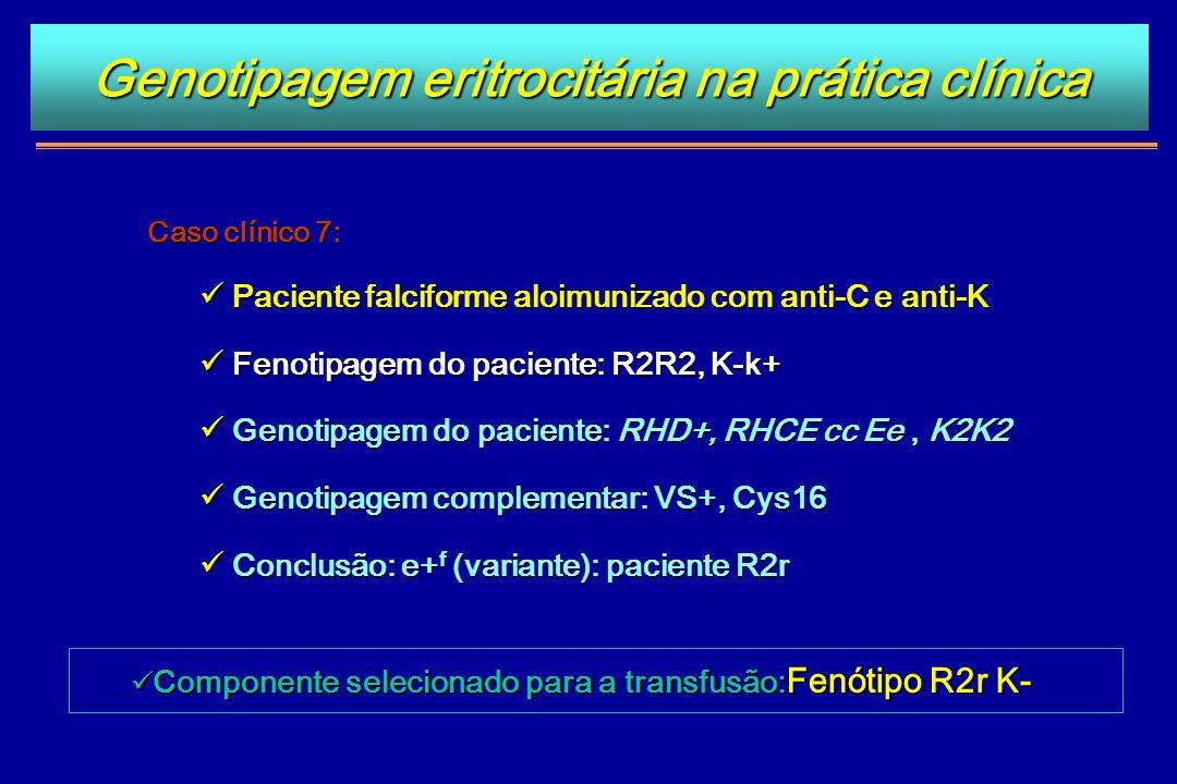 Caso clínico 7: Paciente falciforme aloimunizado com anti-C e anti-K Paciente falciforme aloimunizado com anti-C e anti-K Fenotipagem do paciente: R2R