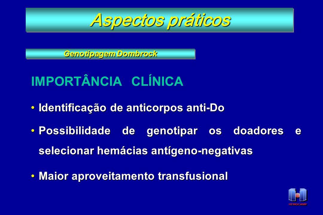 Identificação de anticorpos anti-DoIdentificação de anticorpos anti-Do Possibilidade de genotipar os doadores e selecionar hemácias antígeno-negativas