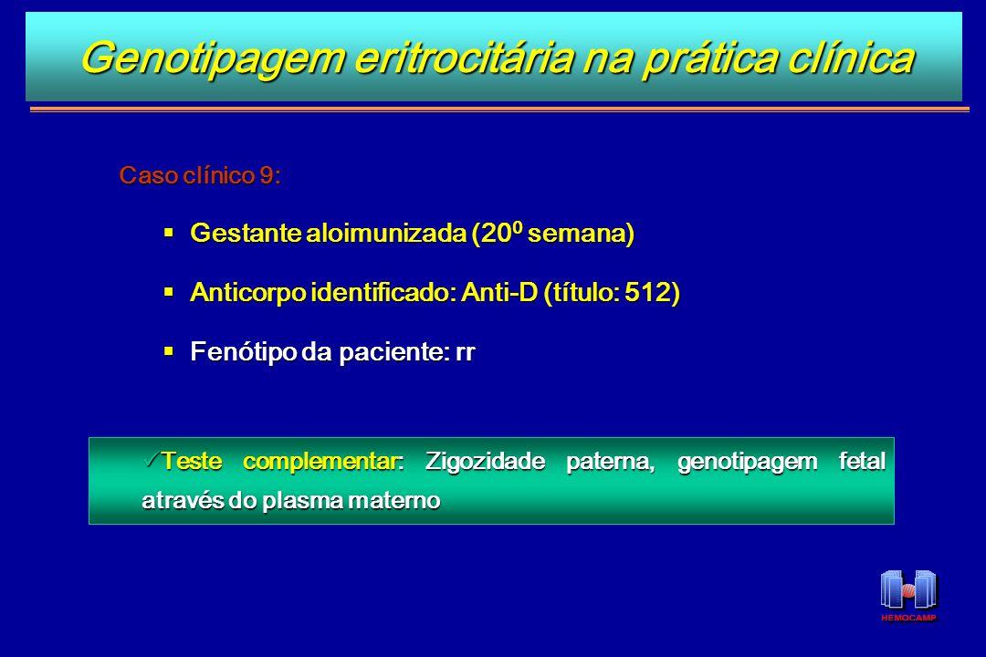Caso clínico 9: Gestante aloimunizada (20 0 semana) Gestante aloimunizada (20 0 semana) Anticorpo identificado: Anti-D (título: 512) Anticorpo identif
