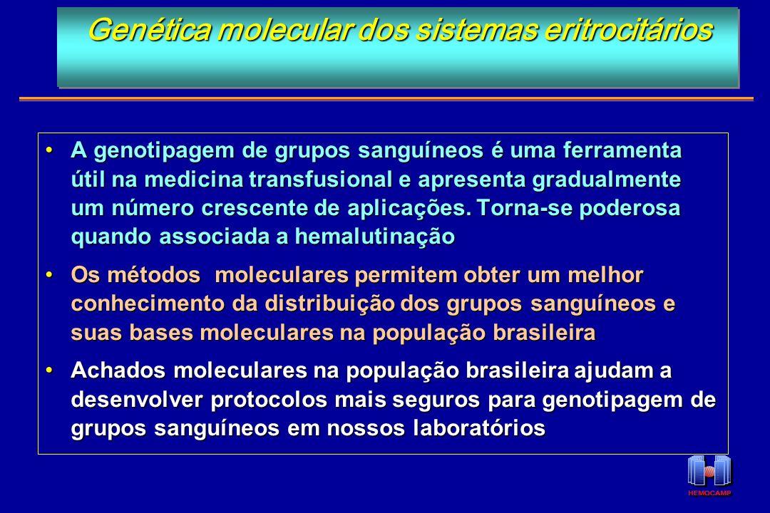 A genotipagem de grupos sanguíneos é uma ferramenta útil na medicina transfusional e apresenta gradualmente um número crescente de aplicações. Torna-s