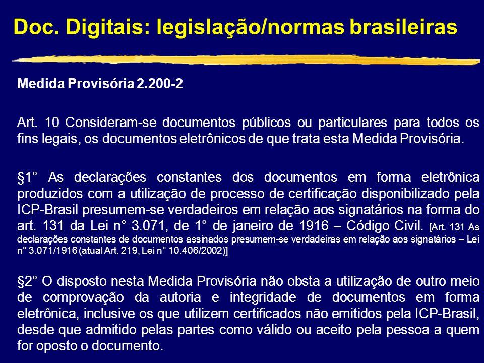 Doc. Digitais: legislação/normas brasileiras Medida Provisória 2.200-2 Art. 10 Consideram-se documentos públicos ou particulares para todos os fins le