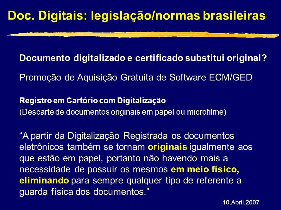 Doc. Digitais: legislação/normas brasileiras Documento digitalizado e certificado substitui original? Promoção de Aquisição Gratuita de Software ECM/G