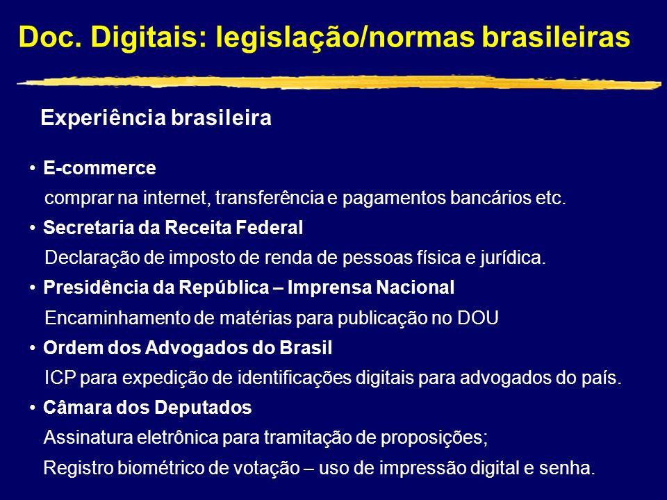 Doc. Digitais: legislação/normas brasileiras Experiência brasileira E-commerce comprar na internet, transferência e pagamentos bancários etc. Secretar