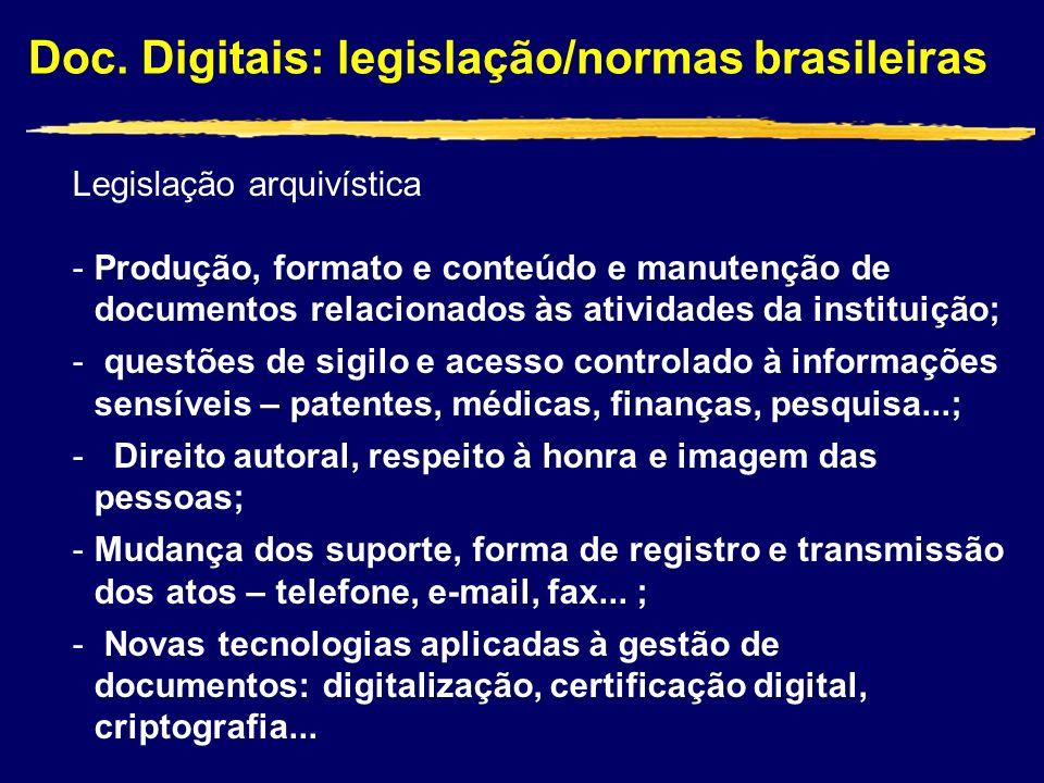 Doc. Digitais: legislação/normas brasileiras Legislação arquivística -Produção, formato e conteúdo e manutenção de documentos relacionados às atividad