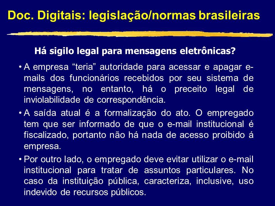Doc. Digitais: legislação/normas brasileiras Há sigilo legal para mensagens eletrônicas? A empresa teria autoridade para acessar e apagar e- mails dos