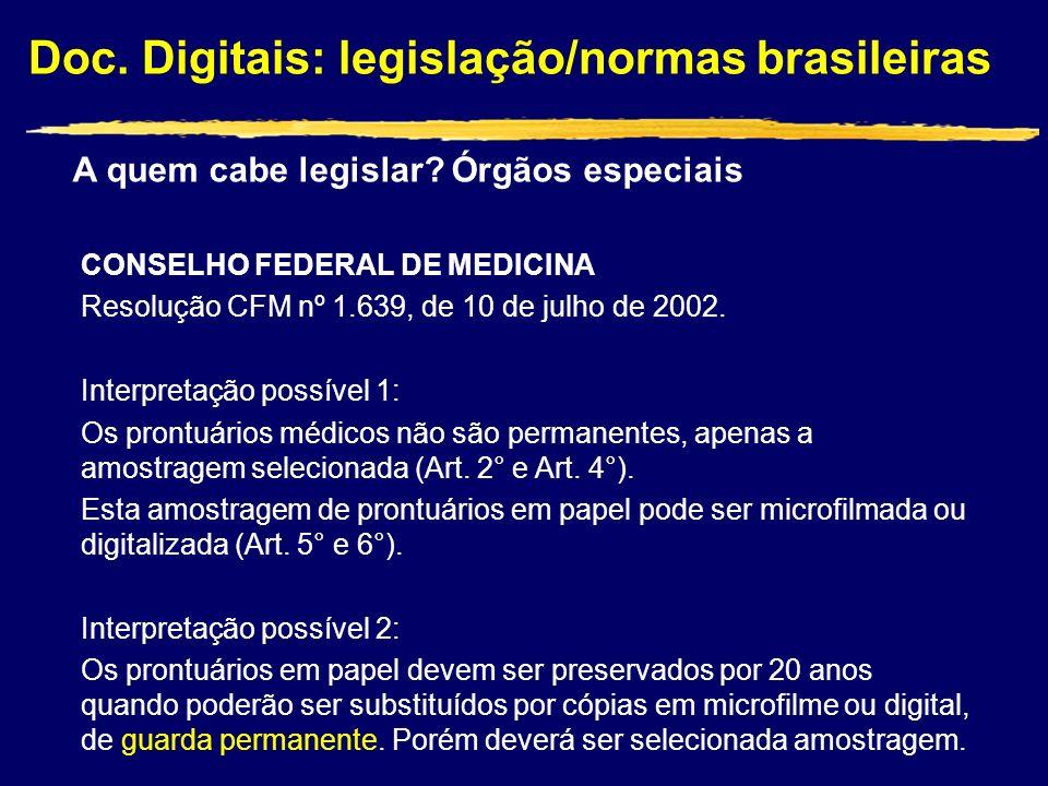 Doc. Digitais: legislação/normas brasileiras CONSELHO FEDERAL DE MEDICINA Resolução CFM nº 1.639, de 10 de julho de 2002. Interpretação possível 1: Os