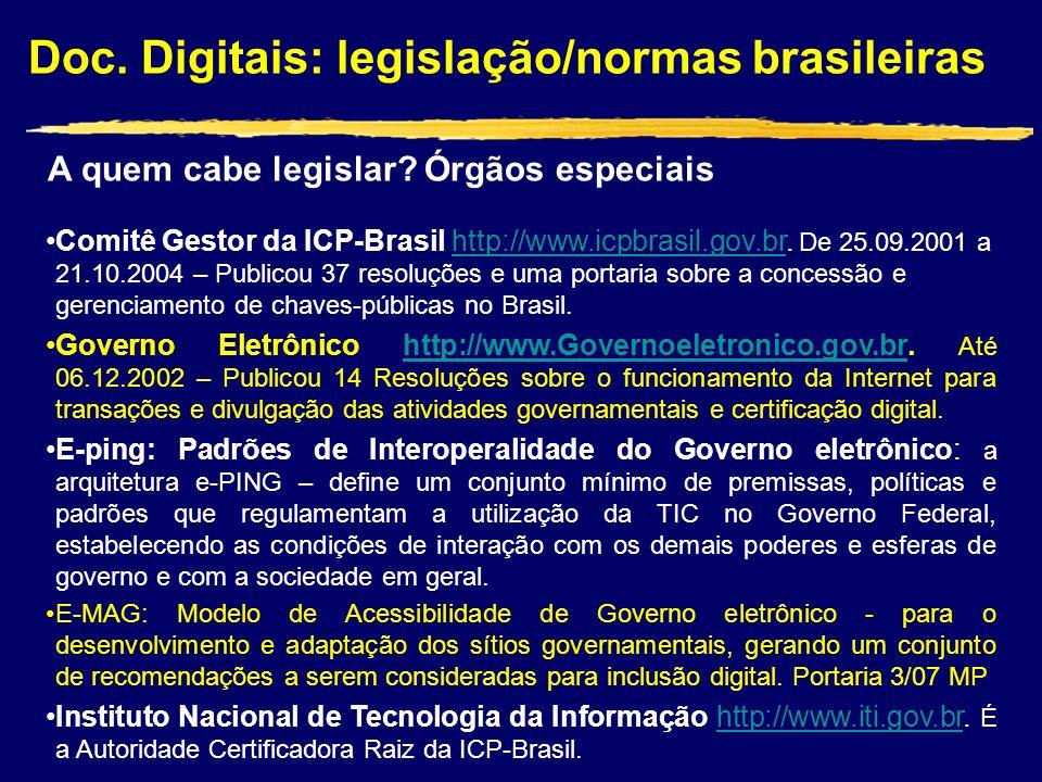 Doc. Digitais: legislação/normas brasileiras Comitê Gestor da ICP-Brasil http://www.icpbrasil.gov.br. De 25.09.2001 a 21.10.2004 – Publicou 37 resoluç