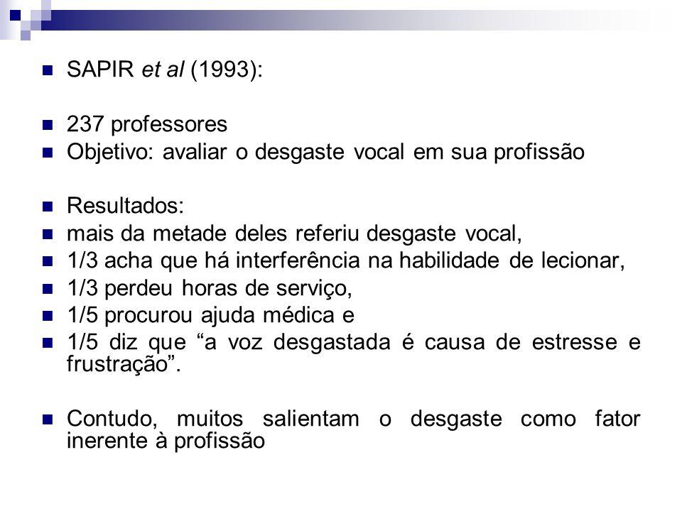 SAPIR et al (1993): 237 professores Objetivo: avaliar o desgaste vocal em sua profissão Resultados: mais da metade deles referiu desgaste vocal, 1/3 a