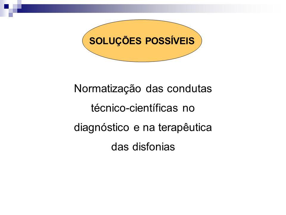 Normatização das condutas técnico-científicas no diagnóstico e na terapêutica das disfonias SOLUÇÕES POSSÍVEIS